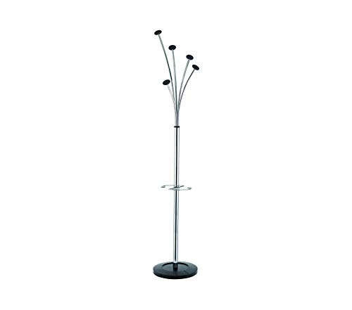 Аlbа Office Home Furniture Premium Festival Floor Coat Stand with Weighted Base, Chrome with Black ()