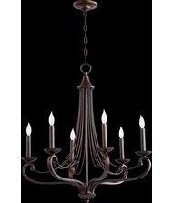 Quorum Lighting 6030-6-86, Lariat 1 Tier Chandelier Lighting, 6LT, 120 Watts, Oiled Bronze