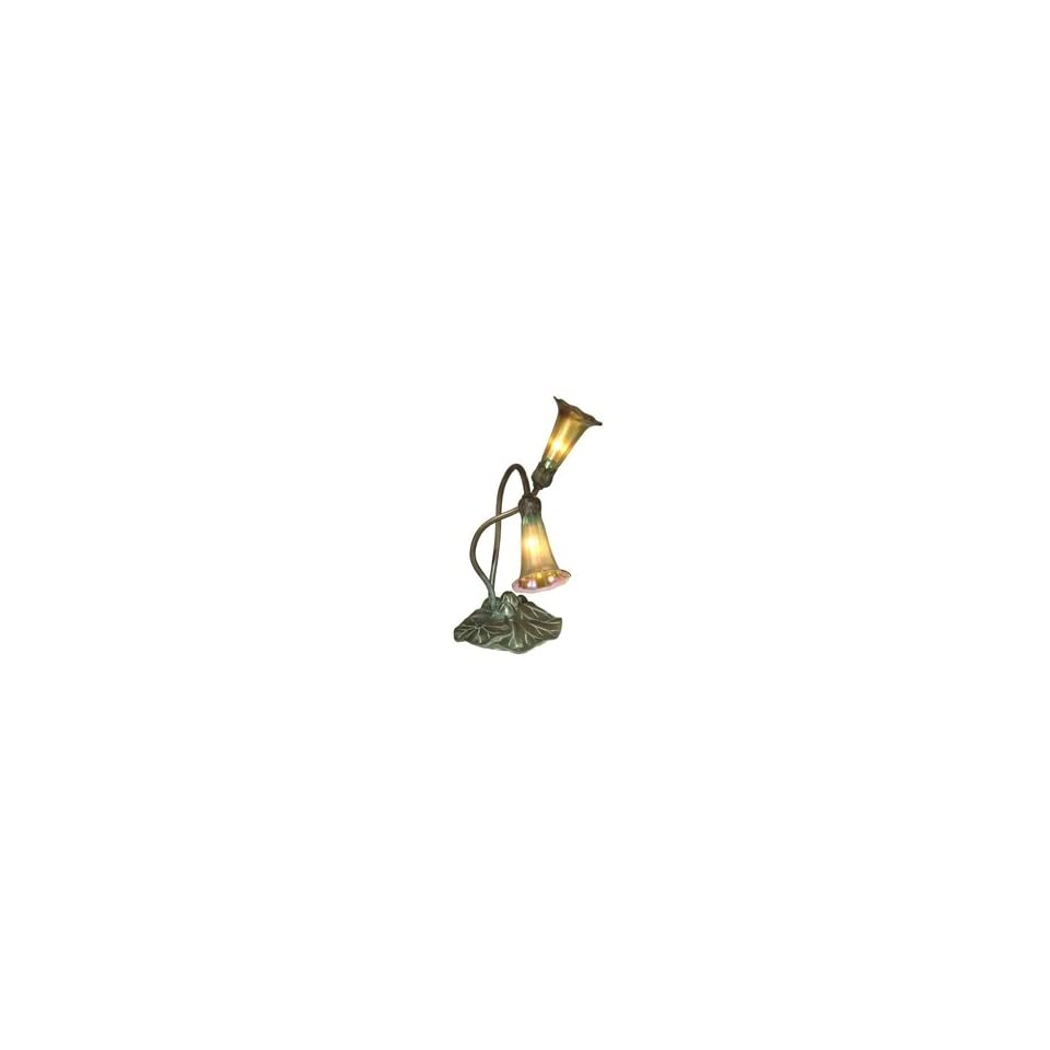 Dale Tiffany 1704/266 Lily Accent Lamp, Antique Bronze/Verde and Glass Shade