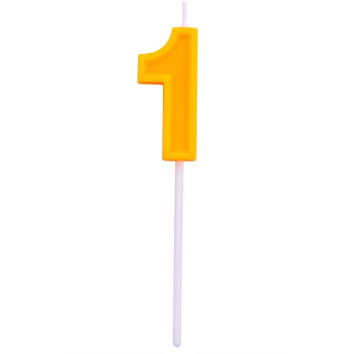 Willcan Extra Length Happy Birthday Colorful Numeral Candles, Classic Number Candles with Plastic stem for Party Celebration Decorating Cake Topper (Orange Number 1) (Celebration Birthday Candle)