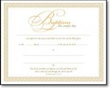 Certificate-Baptism (Parchment-8x10) (Package of 6)