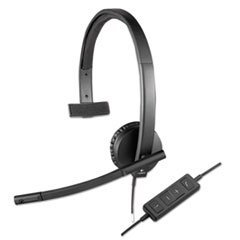 * USB H570e Over-the-Head Wired Headset, Monaural, Black