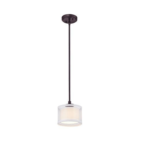 Bronze Pendant Dolan (Dolan Designs 1271-30 Double Organza - One Light Mini pendant, Royal Bronze Finish with White Fabric Shade)
