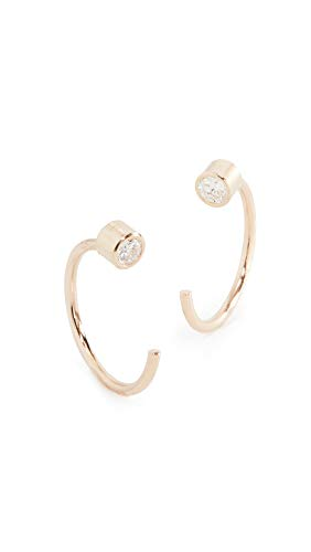 Zoe Chicco Women's 14k Gold Reversible Bezel Diamonds Huggie Earrings, Gold/Clear, One Size ()