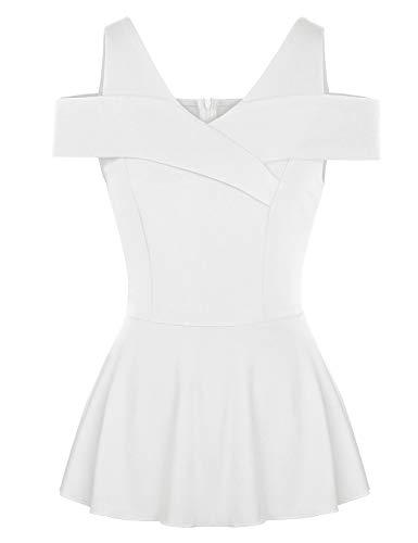 (CHICIRIS Women's Summer Cold Shoulder High Waist Peplum Solid Fitted Tops T-Shirts White M)