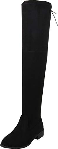 (Cambridge Select Women's Thigh-High Drawstring Low Stacked Heel Over The Knee Boot,8 B(M) US,Black IMSU)