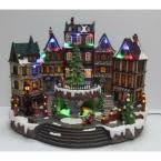 12.5 in. Animated Holiday Downtown, LED Lighted Animated Snowy Christmas Village House Scene by Home Accents Holiday (Image #5)