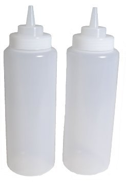 SET of 2, 32 Oz. (Ounce) Large Clear Squeeze Bottle, Condiment Squeeze Bottle, Open-tip, Wide Screw-on Spout, Polyethylene Durable Plastic, Diner Style (2) by Update International ()