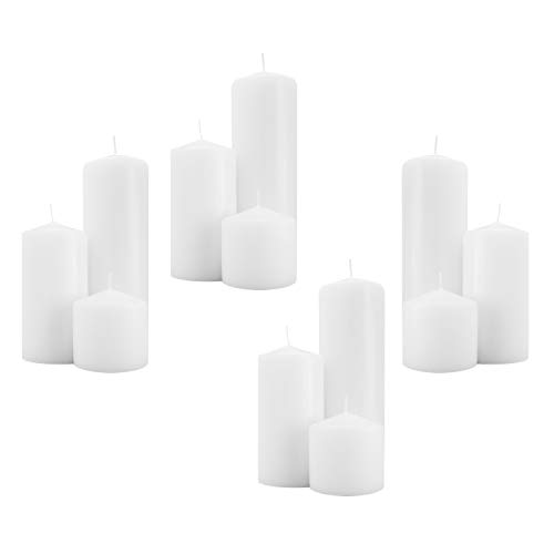 Royal Imports 4 Sets of 3 Pillar Candles (12 Candles) for Wedding, Birthday, Holiday & Home Decoration, 3x3, 3x6, 3x9, White Wax