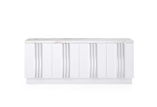- Limari Home LIM-75539 Broddy Collection Modern Style Gloss Finished Dining Room Buffet with Marble Top, 4 Doors & Stainless Steel Accents White