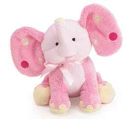 - Pink Elephant Plush Rattle with Polka Dot Ears