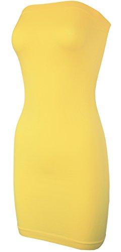(KMystic Seamless Strapless Tube Slip Dress (Yellow),One Size)