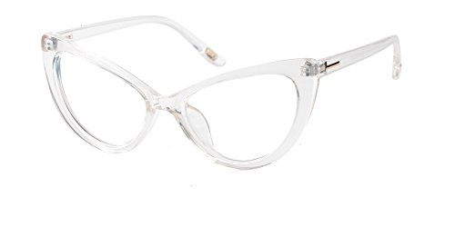 SOOLALA Womens Oversized Fashion Cat Eye Eyeglasses Frame Large Reading Glasses, Transparent, 2.5D