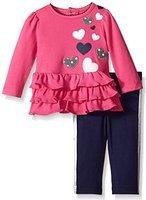 Hartstrings Baby Girls' Heart Cotton Interlock Tunic and Legging Set, Berry Champagne 0-3 Months