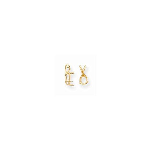 FB Jewels 14K Yellow Gold Pear 3-Prong Cast Lightweight 7 x 5mm Pendant Setting