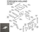 Ford/New Holland Lower Cab Kit with Headliner and Post - Black (Post Headliner)