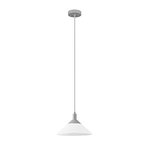 Novogratz x Globe Electric Ursa Frosted White and Matte Gray 1-Light Pendant, 60569