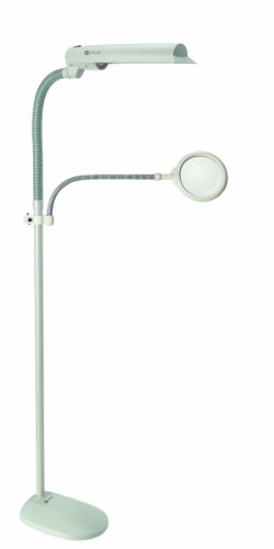 OttLite W9437T Easy View 18-Watt Floor Lamp with 3x Optical-Grade Magnifier, Dove Grey