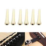 Ioffersuper 6pcs Ebony Bridge Pins Black For Acoustic Guitar Accessories Quality Replacement white