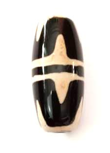 Crystal Cave Tibetian Tiger Tooth DZI Bead 24 mm X 11 mm Healing -  Meditation - Wealth - Relaxation - Prosperity - Protection - Power - Success