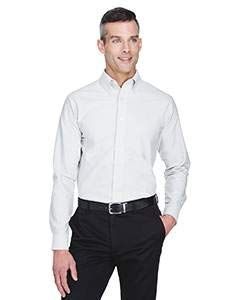 UltraClub� Men's Classic Wrinkle-Free Long-Sleeve Oxford (White) (Medium)