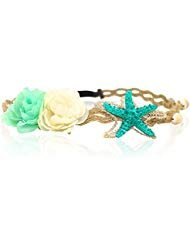 Starfish Shell Wave Headband, Elastic Flowers Hairband, Flower Headpiece, Mermaid Hair Band (Cute Hairstyles For Short Curly Hair For Teenagers)