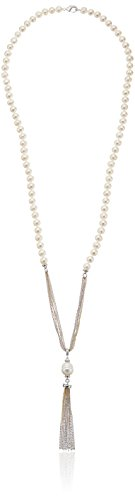 Honora Drop Necklace (Honora Bronze Freshwater Cultured Pearl and Ringed Drop Tassel Necklace)