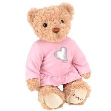 FAO Schwarz 12 inch Pink Ruffle Dress Bear - Tan