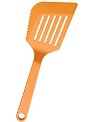Nylon Fish Spatula for Non Stick Cookware Plastic Slotted Turner with Serrated Edge. Flexible Large Flipper for Pancake Burgers Egg. Heat Resistant Kitchen Spatulas Best Cooking Utensil Tool - TWICHAN ()
