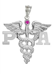 Diamond Cut Caduceus Charm - NursingPin - Physician Assistant PA Charm with Ruby in Silver