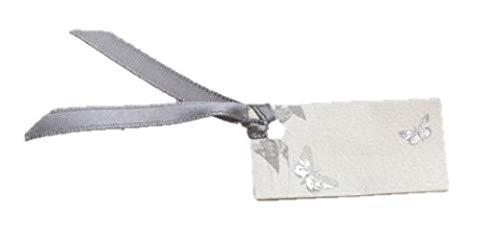 D& Y Lot DE 12 étiquettes pour boites à dragées ballotins à dragées écru nacré Motif Papillon Gris Mariage baptême Communion Y&D