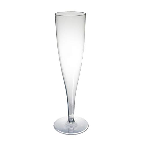 Party Essentials One Piece 5 oz. Plastic Champagne Flutes, Clear (Pack of 100)