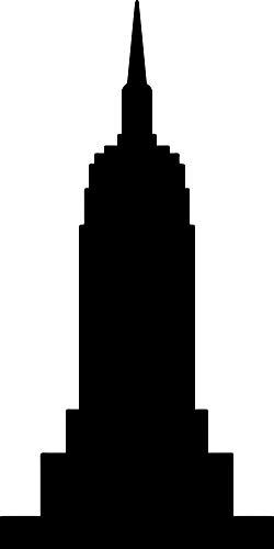 Empire State Building Silhouette (Black) (Set of 2) Premium Waterproof Vinyl Decal Stickers for Laptop Phone Accessory Helmet Car Window Bumper Mug Tuber Cup Door Wall Decoration ()