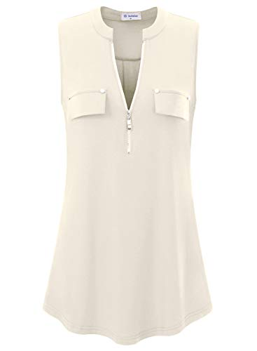 Bulotus Sleeveless Tunic Tops for Women Casual Tank Blouse (Large, Cream)