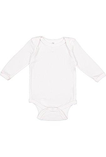 (Rabbit Skins Infant 100% Cotton Lap Shoulder Long Sleeve Bodysuit (White, 12 Months))