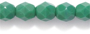 Preciosa Czech Fire 6mm Faceted Round Polished Glass Bead, Opaque Forest Green, 100-Pack Shipwreck Beads 6FC188