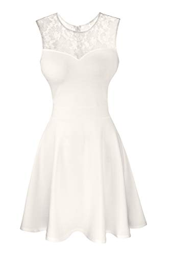 Sylvestidoso Women's A-Line Sleeveless Pleated Little White Cocktail Party Dress with Floral Lace (XL, Off White)