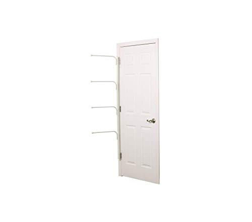 tiаls Premium Hinge It Clutterbuster Four Bar Hanging Valet | Behind The Door Clothing and Towel Rack | White Storage ()