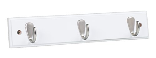 BirdRock Home Modern 3 Hook Coat Rack | White Finish | Satin Nickel Hooks