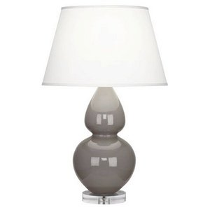 Robert Abbey A750X Lamps with Pearl Dupioni Fabric Shades, Lucite Base/Smokey Taupe Glazed Ceramic Finish - Robert Abbey Double Gourd