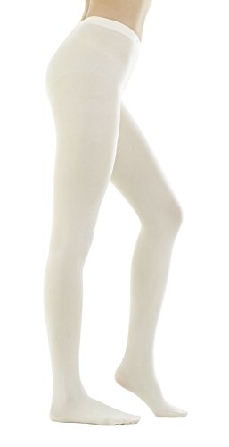 - STYLEGAGA Women's 80 Denier Semi Opaque Solid Color Footed Pantyhose Tights 2Pair (M/L, Ivory)