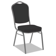 Iceberg Banquet Chairs with Crown Back, Black/Silver, 4/Carton