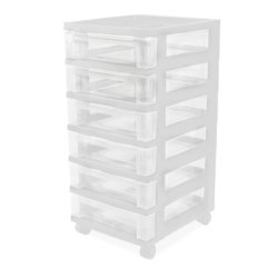 IRIS 6-Drawer Storage Cart with Organizer, White