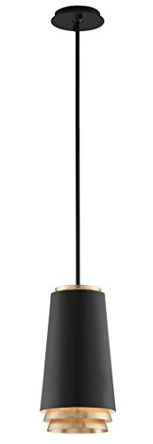 """Troy Lighting F5541 Fahrenheit 15"""" H 1-Light LED Pendant-Textured Black with Gold Leaf Accents Finish, 15"""" x 8.25"""", Two-Tone"""