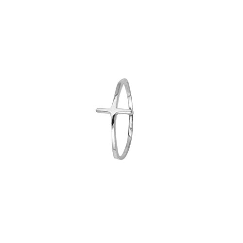 Cross Ring, E2W Small High Polished Cross Ring by DiamondJewelryNY