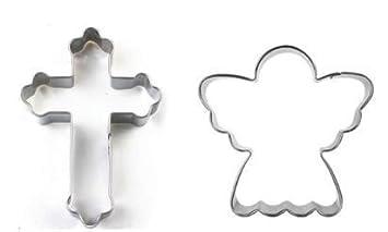 Lilio - Juego de cortadores de galletas y fondant y galletas, 2 piezas, cruz