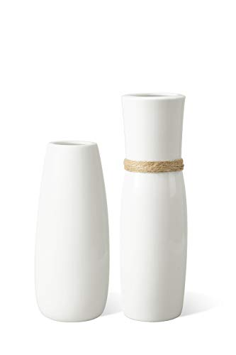 MoonLa White Ceramic Vases Flower Vase with differing Unique Rope Design for Home Décor - Set of 2 (Pottery Clay Vases)
