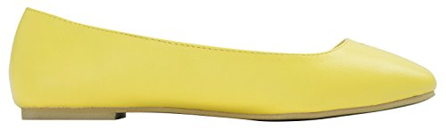 Womens Heart Toe Shoes Ballet Holic Cutout Sweet Flat Yellow Square Ladies P4wgqSx