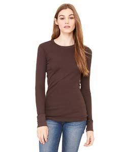 Bella Ladies Long Sleeve Thermal T-Shirt. 8500 - Large - Chocolate