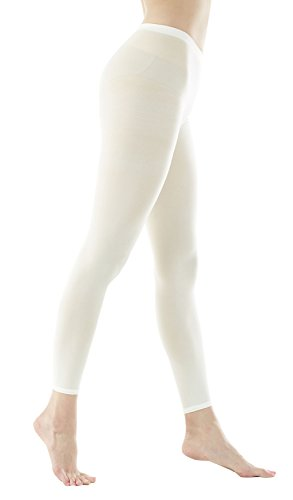 - Women's 80Denier Semi Opaque Solid Color Footless Pantyhose Tights 2pair or 6pair (M/L, Ivory)